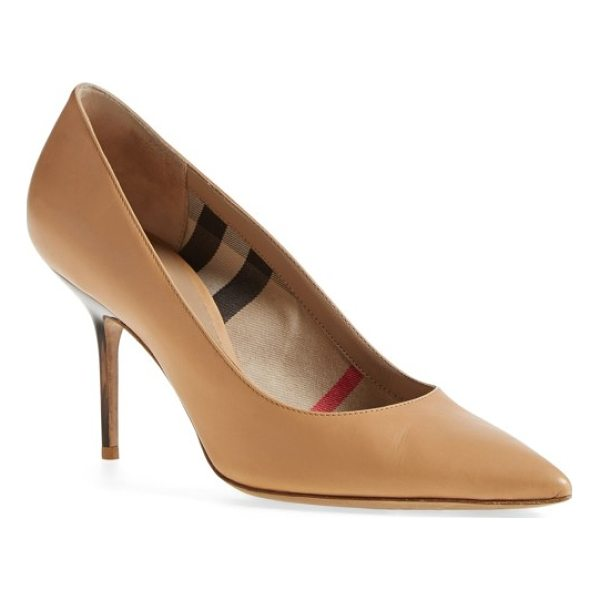 BURBERRY 'mawdesley' pointy toe pump - A pointy-toe pump features a subtle Burberry touch with an...