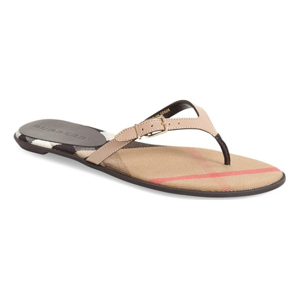 BURBERRY 'meadow' sandal - A slim, belted thong strap refines the look of a barely