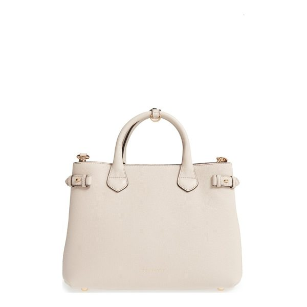 BURBERRY 'medium banner' house check leather tote - Crafted from lightly textured leather and featuring...