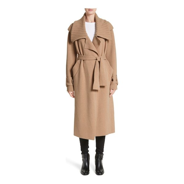 BURBERRY piota wool blend knit trench coat - Burberry offers a cozier take on the iconic trench with...