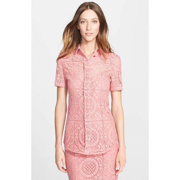 BURBERRY PRORSUM short sleeve english lace blouse - A lovely button-front collared blouse is crafted from...