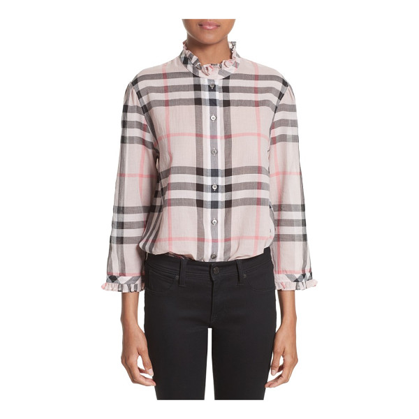 BURBERRY salla check print cotton shirt - Iconic checks pattern a lightweight cotton blouse with a...
