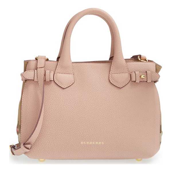BURBERRY 'small banner' house check leather tote - Side buckle fastenings add a bit of equestrian-inspired