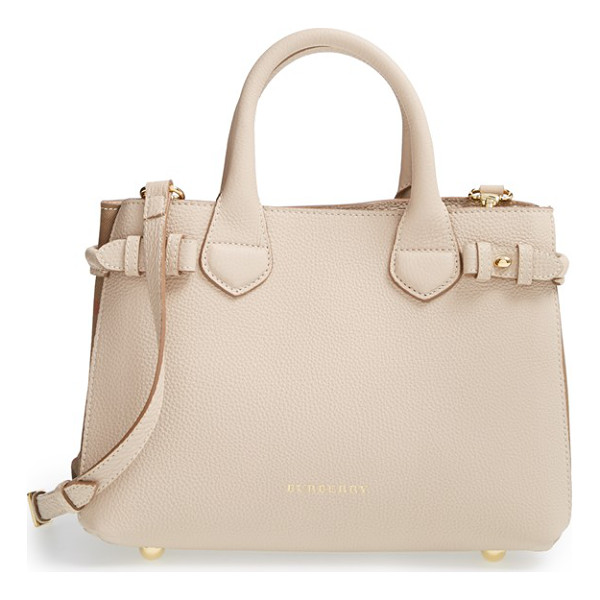 BURBERRY Small banner house check leather tote - Side buckle fastenings add a bit of equestrian-inspired...