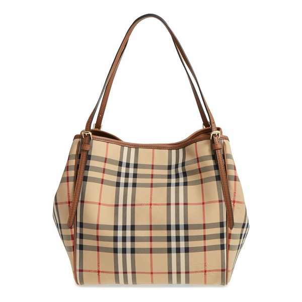 BURBERRY small canter check & leather tote - A Burberry knight is subtly embossed over the iconic checks