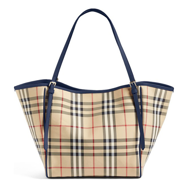 BURBERRY small canter horseferry check tote - A Burberry knight is subtly embossed over the iconic checks