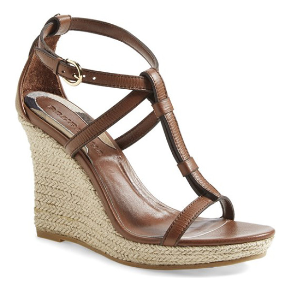 BURBERRY wedland espadrille wedge sandal - A check-print heel counter lends a signature touch to a...