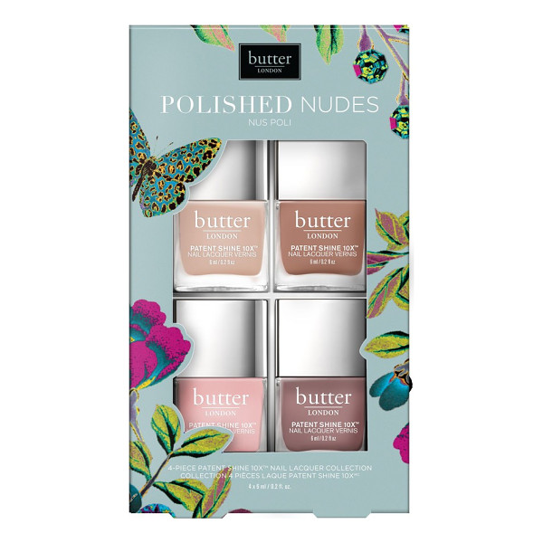 BUTTER LONDON polished nudes patent shine 10x(tm) nail lacquer set - What it is: A four-piece nail lacquer collection that