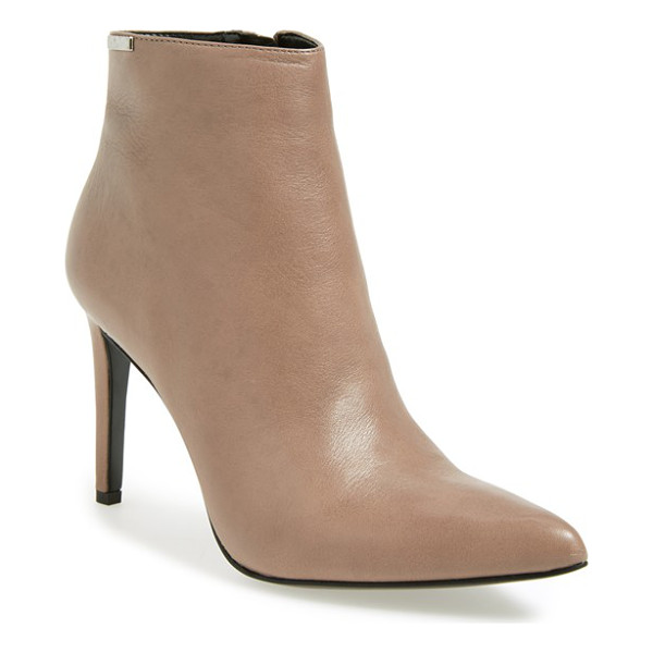 CALVIN KLEIN clariss pointy toe bootie - Buttery-soft leather defines the clean, modern lines of a...