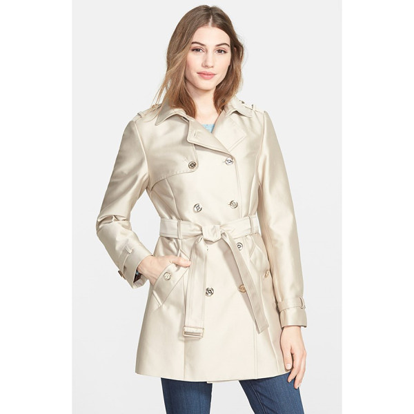 CALVIN KLEIN double breasted satin trench coat - Gleaming hardware and a luminous fabrication lend elegant...
