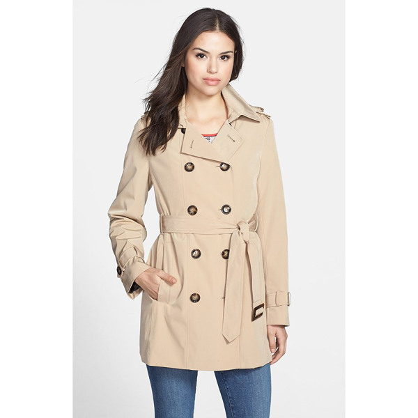 CALVIN KLEIN double breasted trench coat - A shorter version of the timelessly styled trench is...