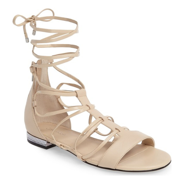 CALVIN KLEIN elina lace-up sandal - A textured rand at the heel elevates a sleek leather sandal