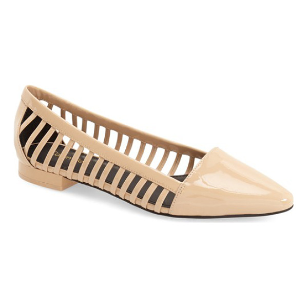 CALVIN KLEIN elouise patent cutout flat - Laddered cutouts offer trend-savvy appeal to a chic flat...