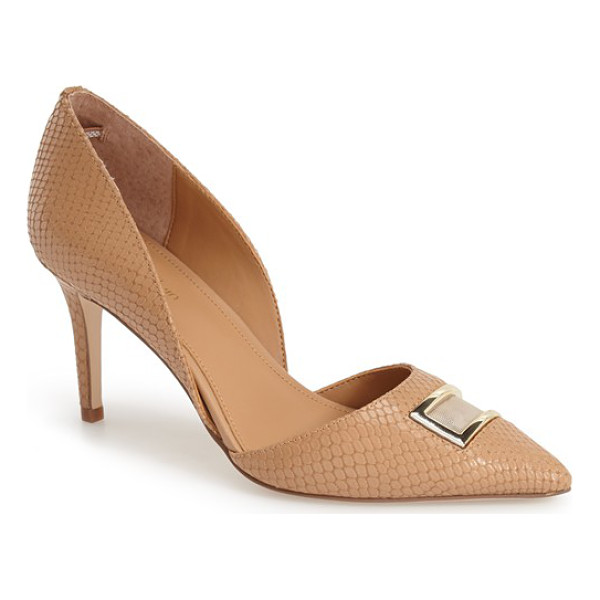 CALVIN KLEIN gerica dorsay pointy toe pump - A geometric mesh inset traced in gleaming goldtone hardware...