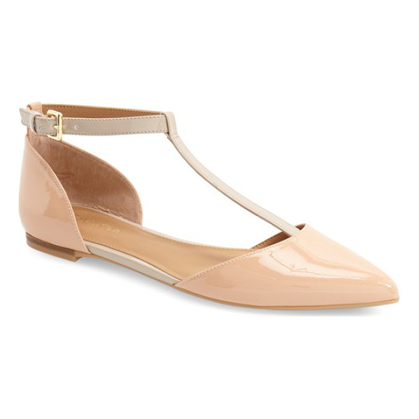 CALVIN KLEIN 'ghita' t-strap flat - A gilt heel embellishment adds a sophisticated flourish to...