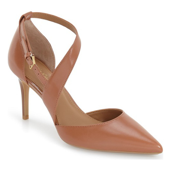 CALVIN KLEIN 'gildana' pointy toe pump - A tapered asymmetrical strap crosses dramatically up the...