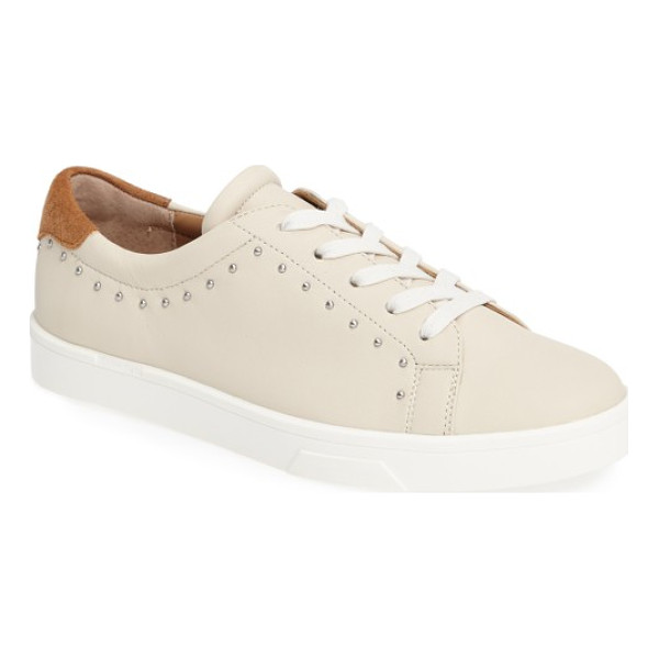 CALVIN KLEIN illia studded platform sneaker - Tiny dome studs punctuate the buttery-soft leather of an