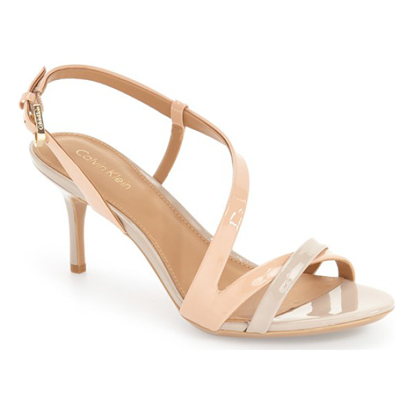 CALVIN KLEIN 'lorren' leather sandal - A curve of straps tops this alluring sandal that features...