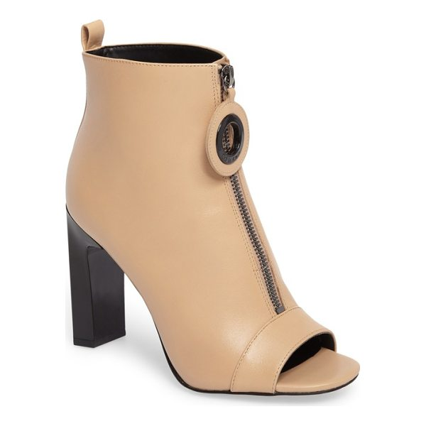 CALVIN KLEIN minda open toe bootie - A striking setback heel elevates a contemporary open-toe...