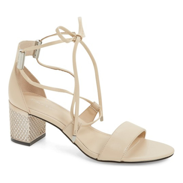 CALVIN KLEIN natania sandal - A chain-detailed block heel adds showstopping gleam to this...