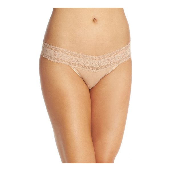 CALVIN KLEIN stretch cotton bikini - Stretchy, sheer lace gives flirty personality and a no-show...