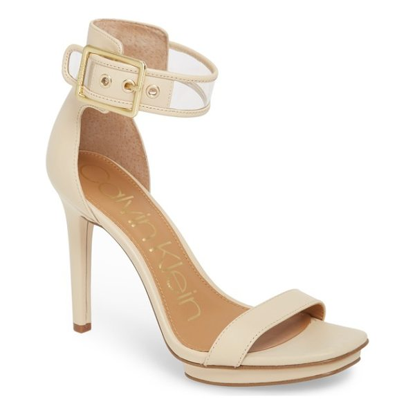 CALVIN KLEIN vable sandal - A transparent ankle strap adds interest to a well-cushioned...