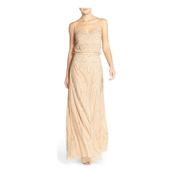 CANDELA marseille beaded blouson gown - Dripping with Art Deco charm, an ethereal webbing of beads...