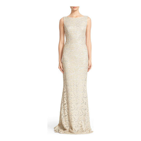 CARMEN MARC VALVO COUTURE sequin lace column gown - Shimmering silvery sequins illuminate the lovely...