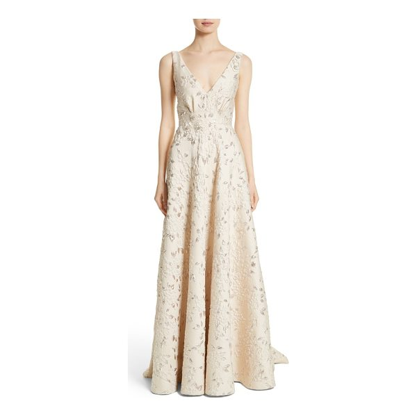 CARMEN MARC VALVO COUTURE reembroidered cloque gown - Sumptuous cloque fabric patterned in a floral motif,...