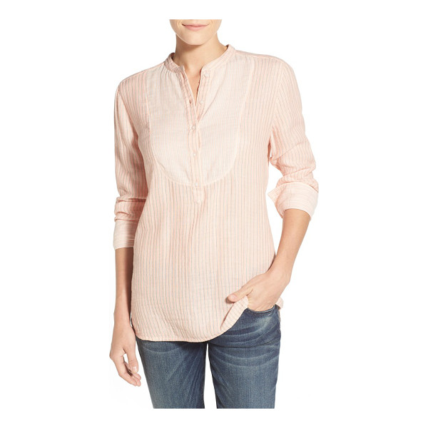 CASLON bib front mix stripe shirt - An inset bib patterned in contrast stripes adds depth to a...