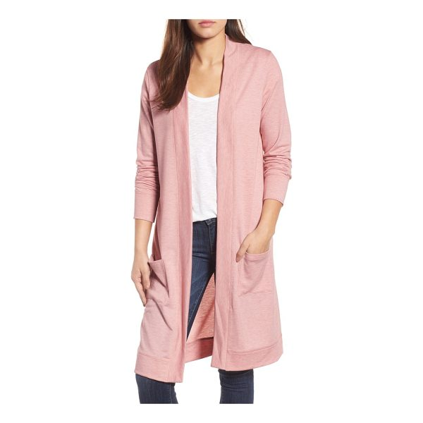 CASLON caslon long french terry cardigan - An open-front cardi in soft French terry makes a comfy,...