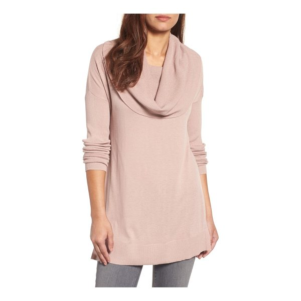 CASLON caslon side slit cowl neck tunic - A face-framing cowl begins a cozy tunic sweater fashioned...