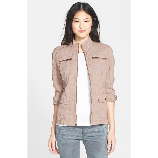 CASLON cotton twill utility jacket - Durable cotton twill brings rugged appeal to a stand-collar...