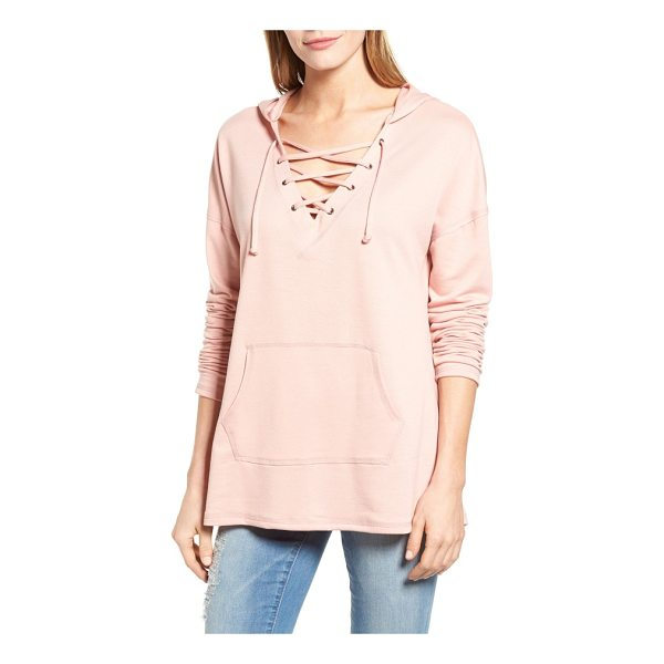 CASLON caslon lace-up hooded sweatshirt - A drawstring-laced V-neck brings a nautical vibe to a...
