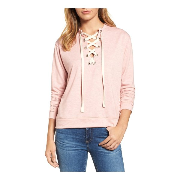 CASLON caslon lace-up sweatshirt - A deep V-neck cinched by grommet-threaded laces adds a fun,...