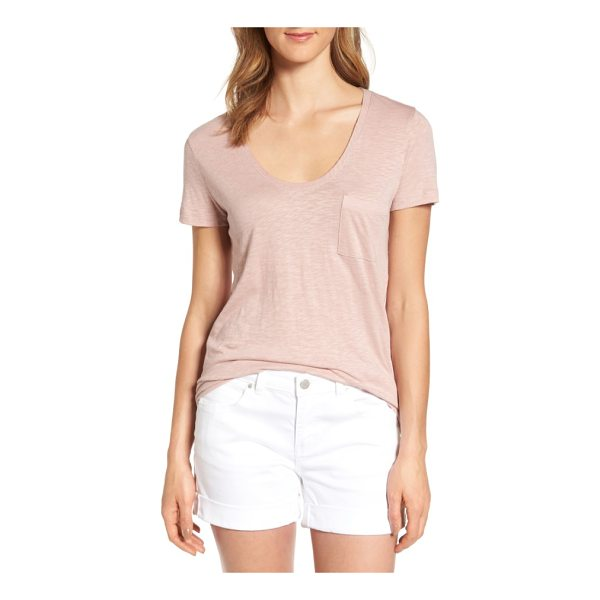 CASLON caslon rounded v-neck tee - A gently rounded V-neckline, short sleeves and a chest...