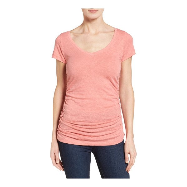 CASLON caslon shirred v-neck tee - A long, lean tee cast in a contemporary slubbed knit boasts...