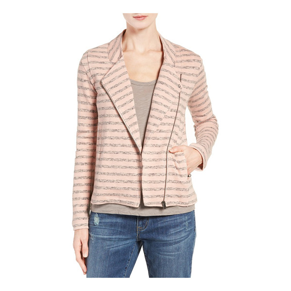 CASLON Caslon stripe moto jacket - Heathered stripes mark this knit moto jacket, adding preppy...
