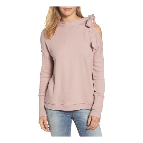 CASLON caslon tie cold shoulder sweatshirt - Get excited for the colder temps in this supersoft cotton...