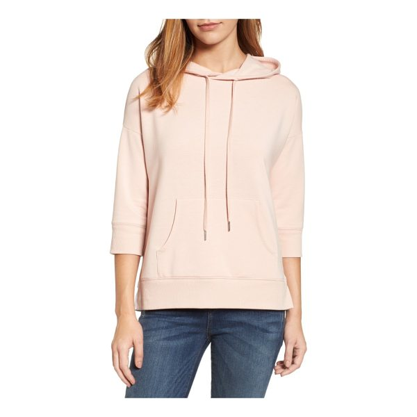 CASLON caslon woven inset knit hoodie - Slightly cropped sleeves and a flirty ruffled inset in back...