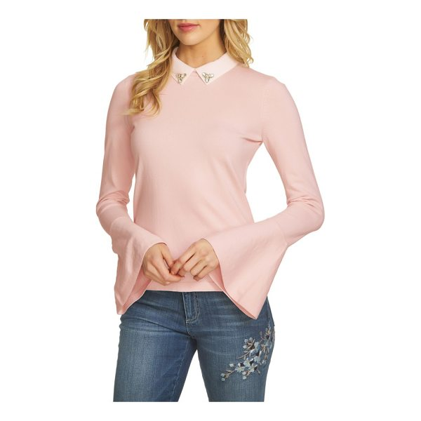 CECE BY CYNTHIA STEFFE collar bell sleeve sweater - A jeweled collar adds polish and a bit of sparkle to a...