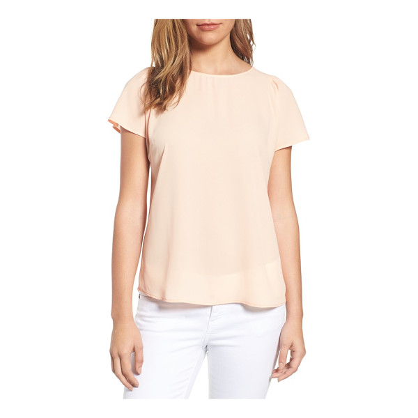 CECE BY CYNTHIA STEFFE crepe blouse - A simple blouse with gently gathered short sleeves packs a...