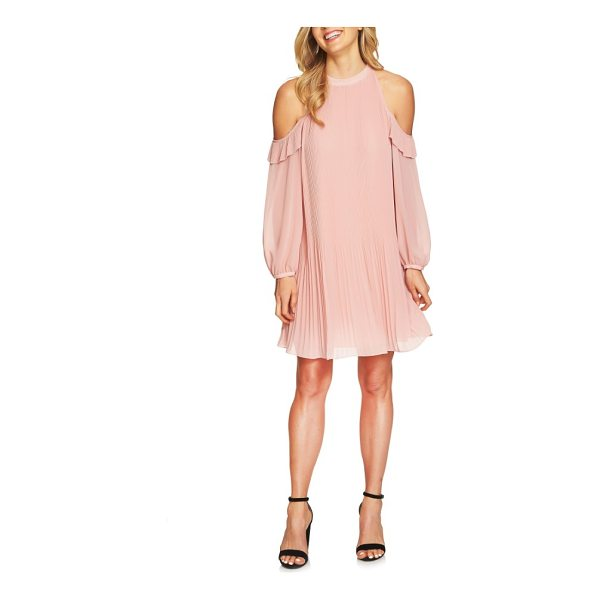 CECE BY CYNTHIA STEFFE noelle cold shoulder chiffon trapeze dress - Cold-shoulder cutouts add flirty contrast to the high neck...