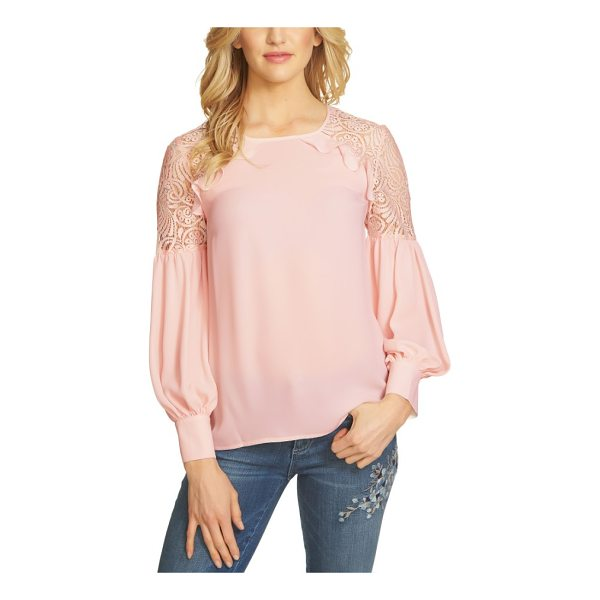 CECE BY CYNTHIA STEFFE ruffle lace shoulder top - Lace, ruffles and billowing sleeves enhance the feminine...
