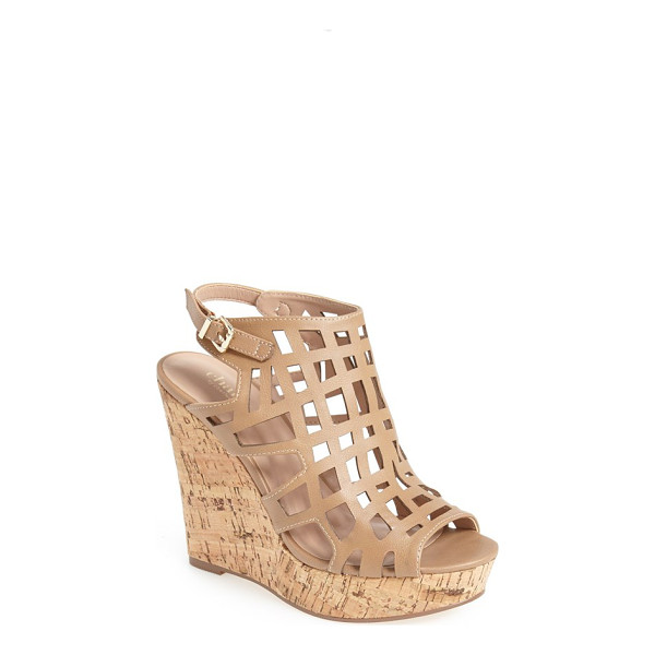 CHARLES BY CHARLES DAVID affluent cage sandal - An open-toe cage sandal set on a bold cork wedge completes...
