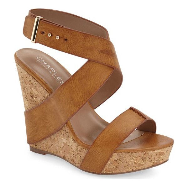 CHARLES BY CHARLES DAVID arlington wedge sandal - Supple faux-leather straps wrap the earthy cork wedge of a...