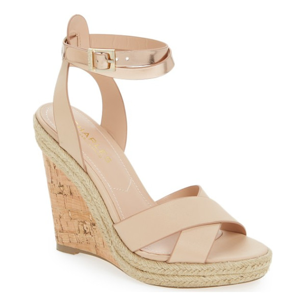 CHARLES BY CHARLES DAVID brit wedge platform sandal - Gleaming metallic ankle straps add a touch of glam to a...