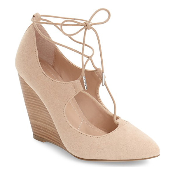 CHARLES BY CHARLES DAVID ima ghillie lace wedge - Pretty ghillie lacing balances a bold pointy toe in this...