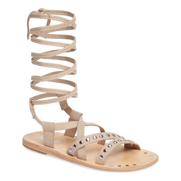 CHARLES BY CHARLES DAVID steeler ankle wrap sandal - Studded asymmetrical straps add moto appeal to a flat...