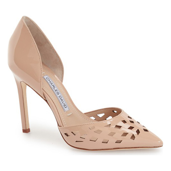 CHARLES DAVID contessa perforated dorsay pump - Geometric perforations accent the pointed toe of a breezy...